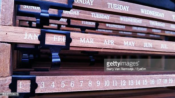 close-up of wooden calendar - barry wood stock pictures, royalty-free photos & images