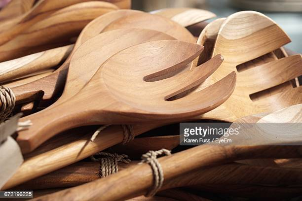 Close-Up Of Wooden Forks And Spoons