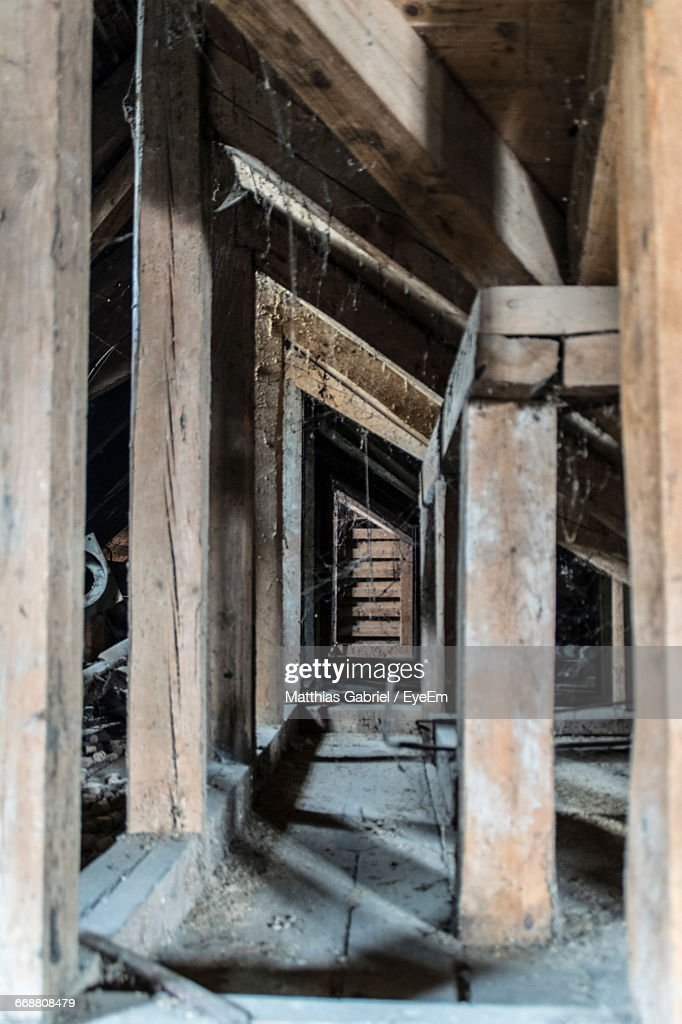 Closeup Of Wooden Frames Of Damaged Building Stock Photo | Getty Images