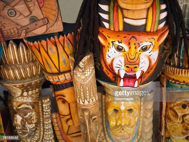 Close-up of wooden masks at a market stall, San Andres, Providencia y Santa Catalina, San Andres y Providencia Department, Colombia