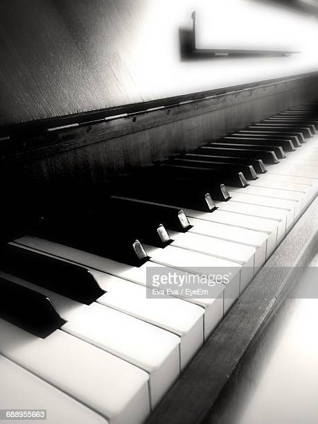 Close-Up Of Wooden Piano