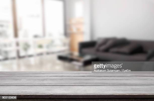 Close-Up Of Wooden Table At Home