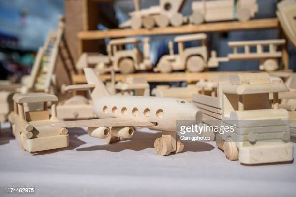 close-up of wooden toys - wood material stock pictures, royalty-free photos & images