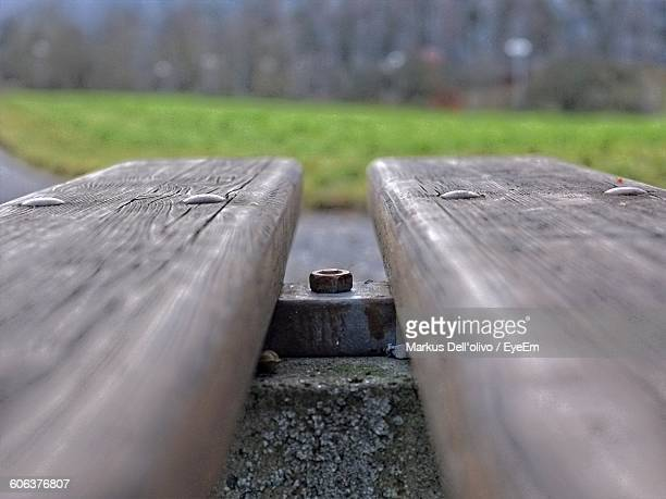 Close-Up Of Woods On Railroad Tracks