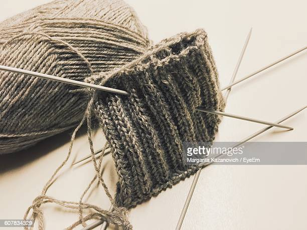 Close-Up Of Wool With Sock