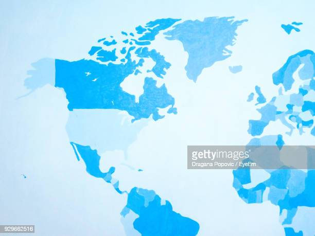 close-up of world map - the americas stock pictures, royalty-free photos & images