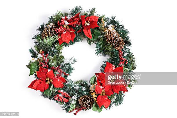 close-up of wreath on white background - wreath stock pictures, royalty-free photos & images