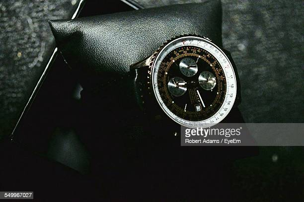 Close-Up Of Wristwatch In Box On Table