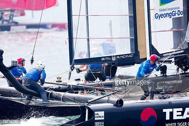 close-up of yacht racing crew - catamaran race stock photos and pictures