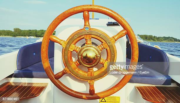 Close-Up Of Yacht Steering Wheel
