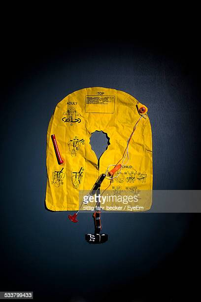 Close-Up Of Yellow Airline Life Jacket