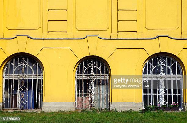 Close-up of yellow building window's in budapest