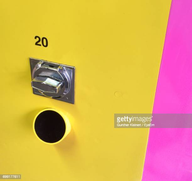 close-up of yellow vending machine - number 20 stock pictures, royalty-free photos & images