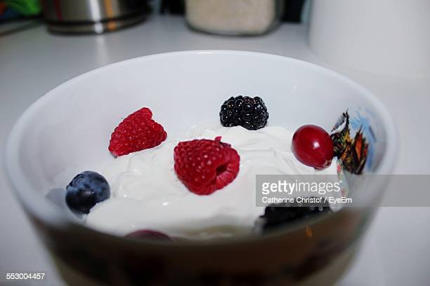 Close-Up Of Yogurt And Fruit In Bowl