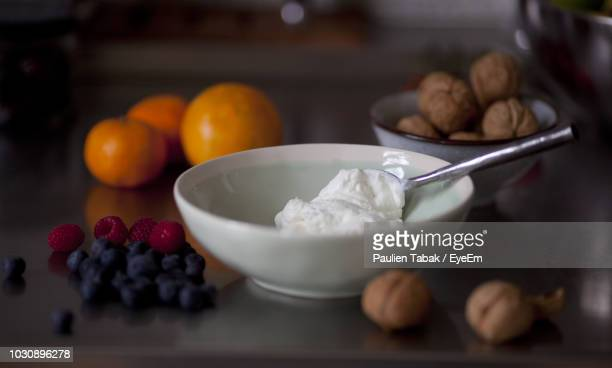 Close-Up Of Yogurt In Bowl On Table
