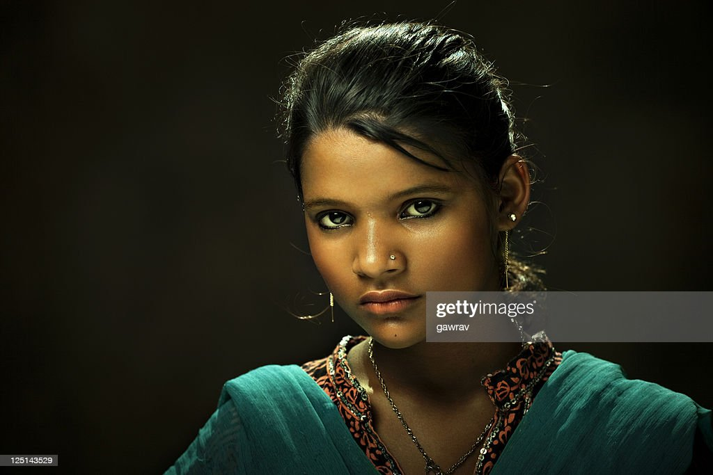 Close-up of young and beautiful rural Indian woman : Stock Photo