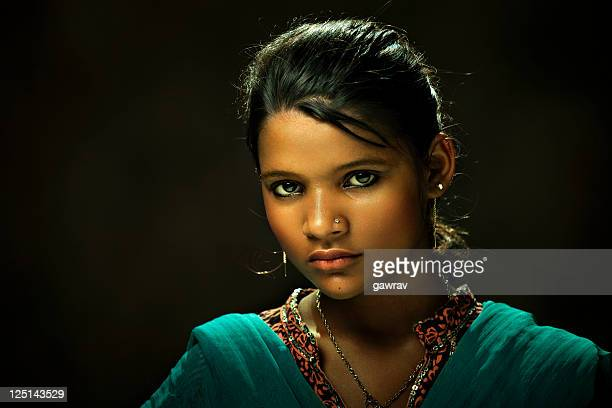 close-up of young and beautiful rural indian woman - indian beautiful girls stock photos and pictures
