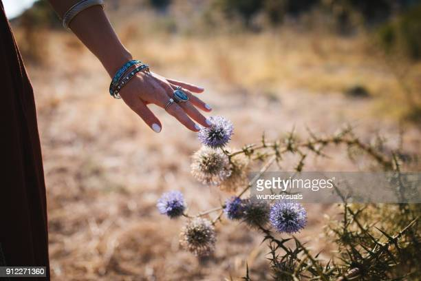 Close-up of young boho girl's hand touching wildflower in field