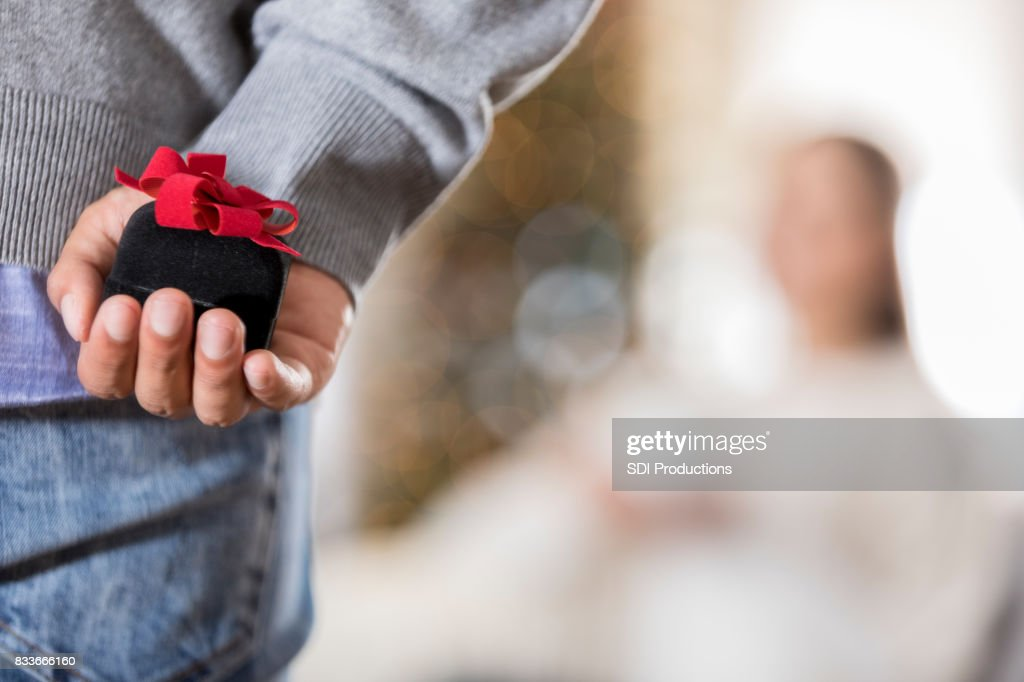 Closeup of young man about to propose : Stock Photo