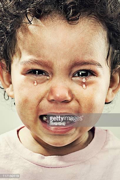 Closeup of young toddler boy crying
