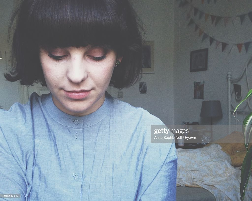 Close-Up Of Young Woman At Home : Stock Photo