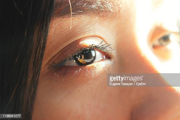 close-up of young woman looking away - 人間の眼 ストックフォトと画像
