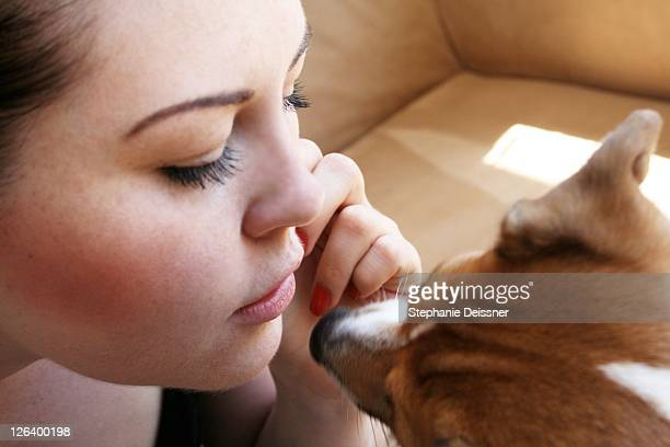close-up of young woman playing with dog - 20 24 jahre stock pictures, royalty-free photos & images