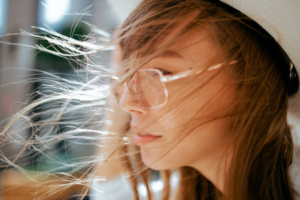 Close-up of young woman wearing eyeglasses,Bashkiria,Russia