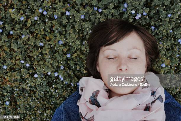 close-up of young woman with eyes closed against plants - adriana duduleanu stock photos and pictures