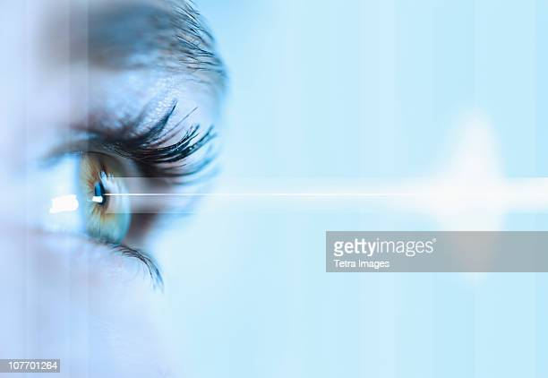close-up of young woman's eye - eyesight stock pictures, royalty-free photos & images