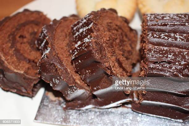 Close-Up Of Yule Log Slices On Table