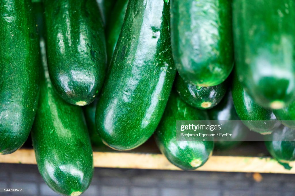 Close-Up Of Zucchini For Sale In Market : Stock Photo
