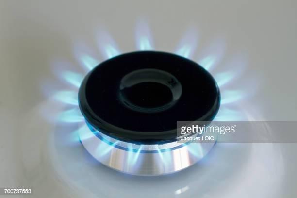 Closeup on a lightened gas burner.