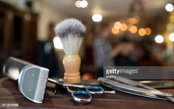 Close-up on a set of shaving tools at a barber shop