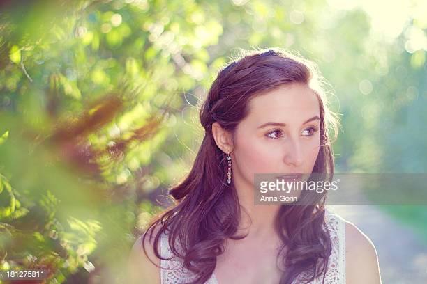 Closeup on beautiful woman outdoors at evening