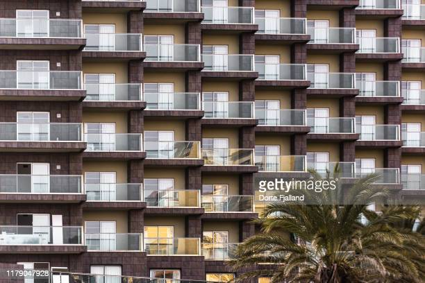 close-up on facade of a hotel building with glass balconies. the top of a palm tree in lower right corner - dorte fjalland stock pictures, royalty-free photos & images