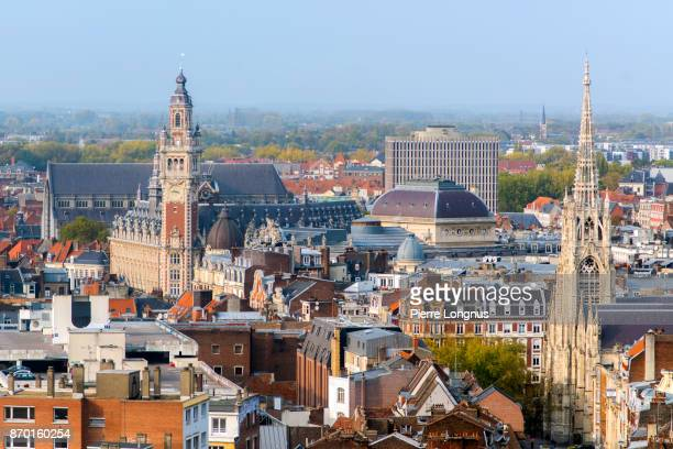 close-up on lille city center, chamber of commerce and st-maurice church visible, lille, north of france - lille,_france stock pictures, royalty-free photos & images