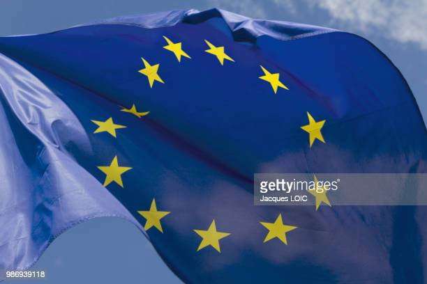 close-up on the eu flag. - european union flag stock photos and pictures