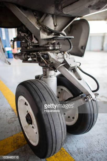 Close-up on the landing gear of an airplane