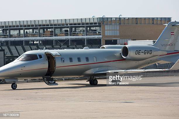 A closeup on the private aircraft used by Victoria Beckham at Le Bourget airport on April 21 2013 in Paris France