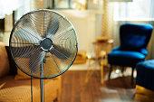 Closeup on working electric floor standing fan