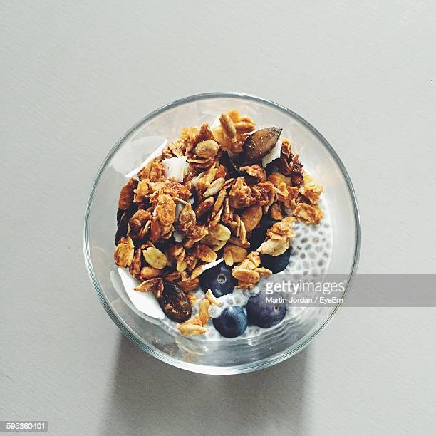 Close-Up Overhead View Of Cornflakes In Milk
