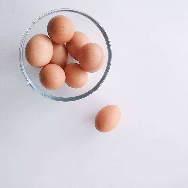 Close-up Overhead View Of Eggs In Bowl Over White Background Wall Art