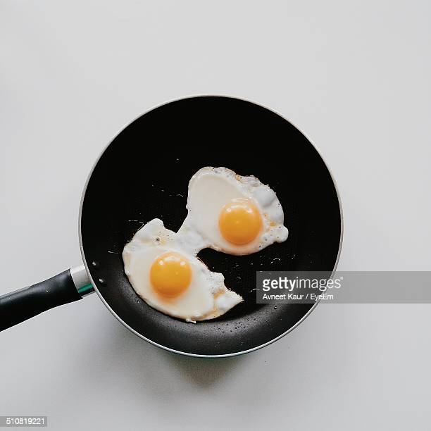 Close-up overhead view of eggs in pan