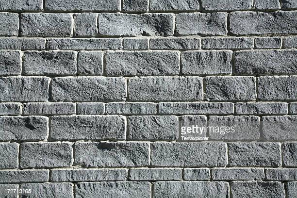 Close-up photo of a gray brick exterior wall