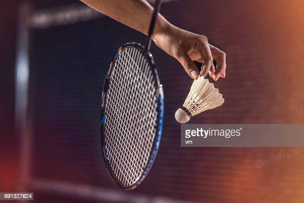 close-up photo of badminton serving - badminton stock photos and pictures
