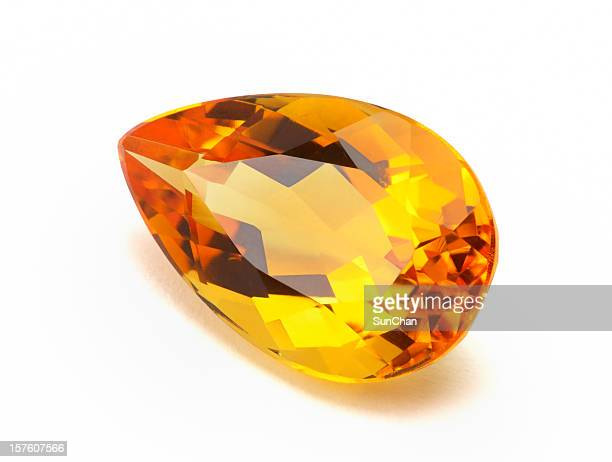 close-up photo of imperial topaz or citrine - topaz stock photos and pictures