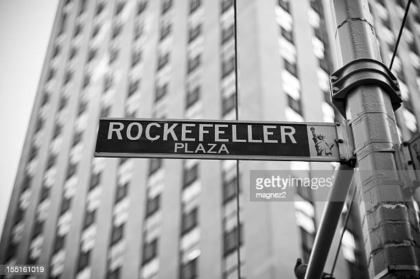 Close-up photo of the Rockefeller Plaza street sign