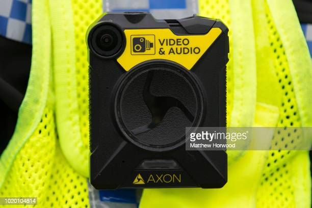 A closeup picture of a body worn wearable camera seen being worn by a police officer on August 15 2018 in Bargoed United Kingdom