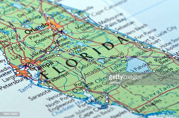 Close-up picture of a busy paper map of florida